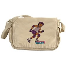 Roller Derby Girl Purple Messenger Bag