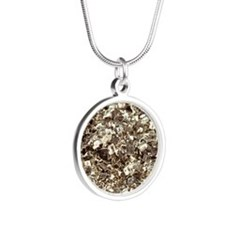 Photography of iron pyrite,  Silver Round Necklace