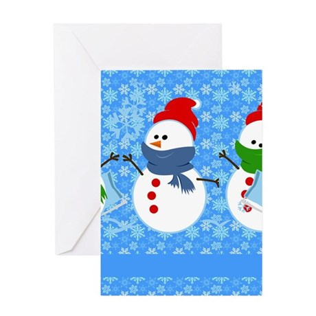 Snowman and Snowflakes Greeting Card