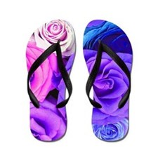 Multicolor Roses On Blue Pink And Purpl Flip Flops