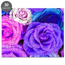 Multicolor Roses On Blue Pink And Purple To Puzzle