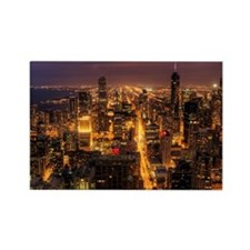 Night cityscape of Chicago. Rectangle Magnet