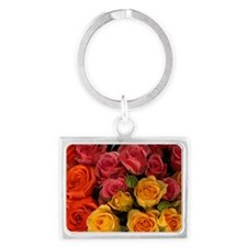 Orange, red, and yellow roses Landscape Keychain