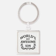 World's Most Awesome Son Square Keychain