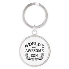 World's Most Awesome Son Round Keychain