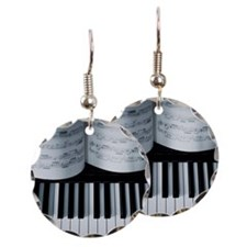 Piano keys and music book det Earring