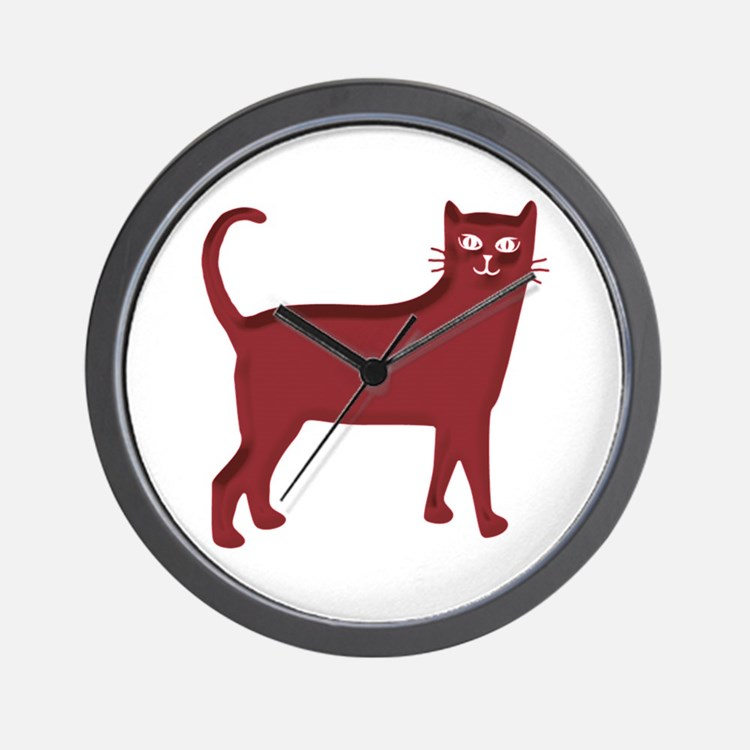 Magenta Cat Wall Clock