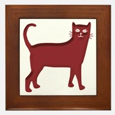 Magenta Cat Framed Tile