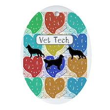 vet tech 2 hearts Oval Ornament