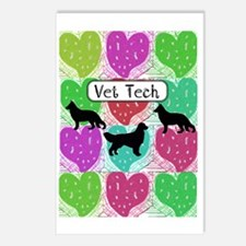 vet tech 3 hearts Postcards (Package of 8)