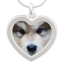Portrait of puppy Silver Heart Necklace