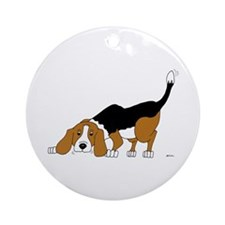 Sniffing Hunting Beagle Ornament (Round)