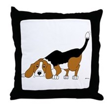 Sniffing Hunting Beagle Throw Pillow