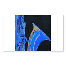 Saxophone Blues Art Rectangle Decal