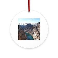 View of bridge behind Hoover Dam. Round Ornament