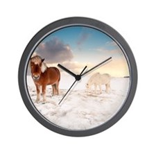 Small Icelandic horses in snow during w Wall Clock