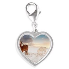 Small Icelandic horses in snow Silver Heart Charm
