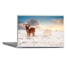 Small Icelandic horses in snow during Laptop Skins