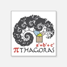 "Pi thagoras Square Sticker 3"" x 3"""