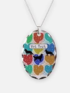 vet tech 2 hearts Necklace
