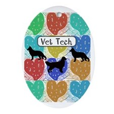 vet tech 2 hearts Oval Ornament