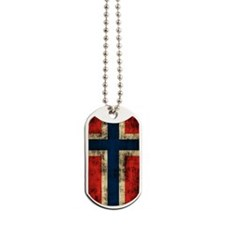 Norwegian Flag Distressed Dog Tags