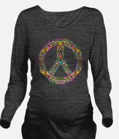 Peace Symbol Psyched Long Sleeve Maternity T-Shirt