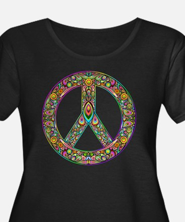 Peace Sy Women's Plus Size Dark Scoop Neck T-Shirt