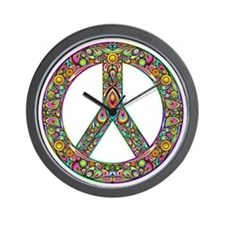 Peace Symbol Psychedelic Art Design Wall Clock
