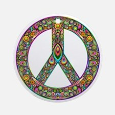Peace Symbol Psychedelic Art Design Round Ornament