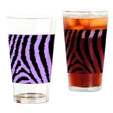 Purple And Black Abstract Zebra Pri Drinking Glass