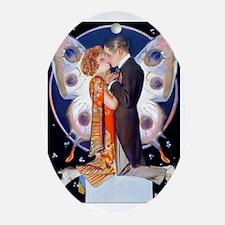 PwrBnk-Leyendecker Kissing Couple -B Oval Ornament