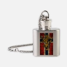 Norwegian Flag Lion Distressed Flask Necklace