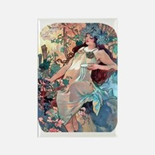 PwrBnk Autumn Lady, Alphonse Much Rectangle Magnet
