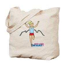 Girl Running Blue and Red Tote Bag