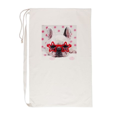 Bulldog with star glasses, white and p Laundry Bag