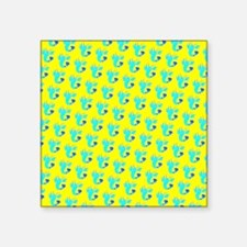 "Yellow Turquoise Lobsters D Square Sticker 3"" x 3"""