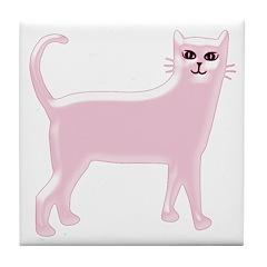Pink Cat Tile Coaster