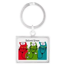 Retired Nurse Blanket CATS Landscape Keychain