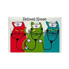 Retired Nurse Blanket CATS Rectangle Magnet