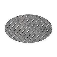 Diamond Plated Steel Oval Car Magnet