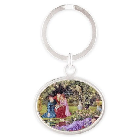 19th C. Victorian Glimpse Garden Idy Oval Keychain