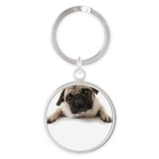 Pugs Not Drugs Round Keychain