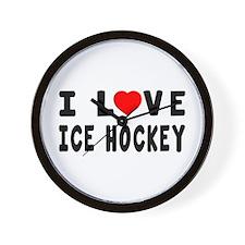 I Love Ice Hockey Wall Clock