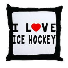 I Love Ice Hockey Throw Pillow