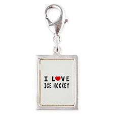 I Love Ice Hockey Silver Portrait Charm