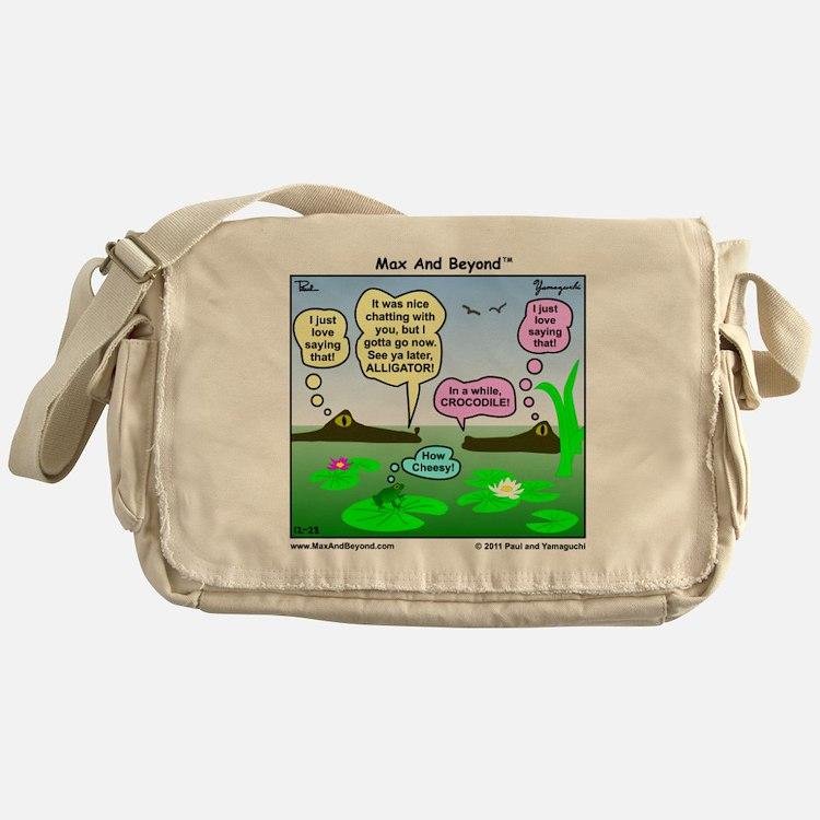 Alligator and Crocodile Cartoon Messenger Bag