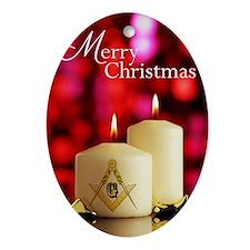 Masonic Christmas Card Oval Ornament