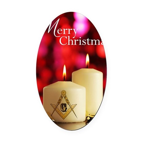 Masonic Christmas Card Oval Car Magnet
