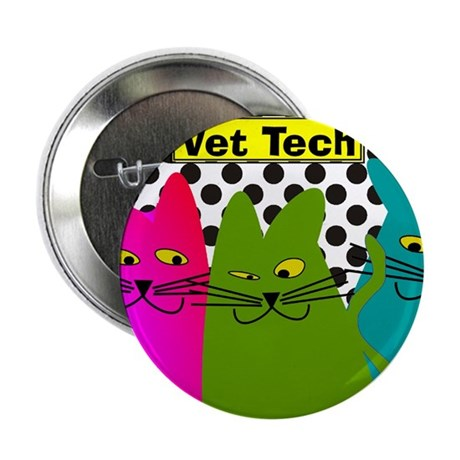 """Vet TEch 3 CATS Whimiscal 2.25"""" Button"""